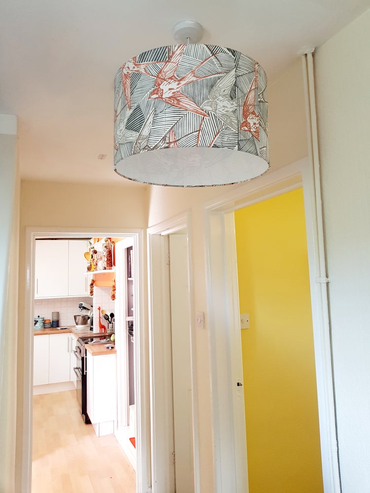 Image of Handprinted Swallow Lampshade 'Fawn'