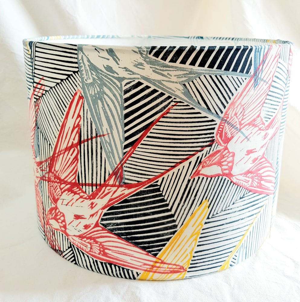Image of Handprinted Swallow Lampshade 'Blue Yellow Pink'