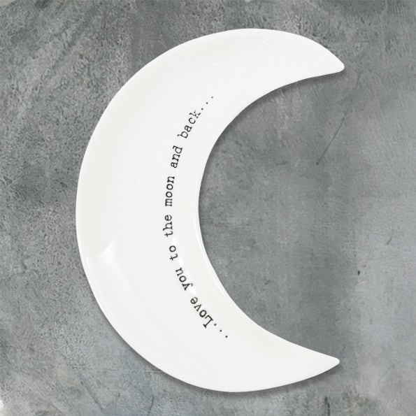Image of East of India Wobbly moon dish - Love You to the Moon & back