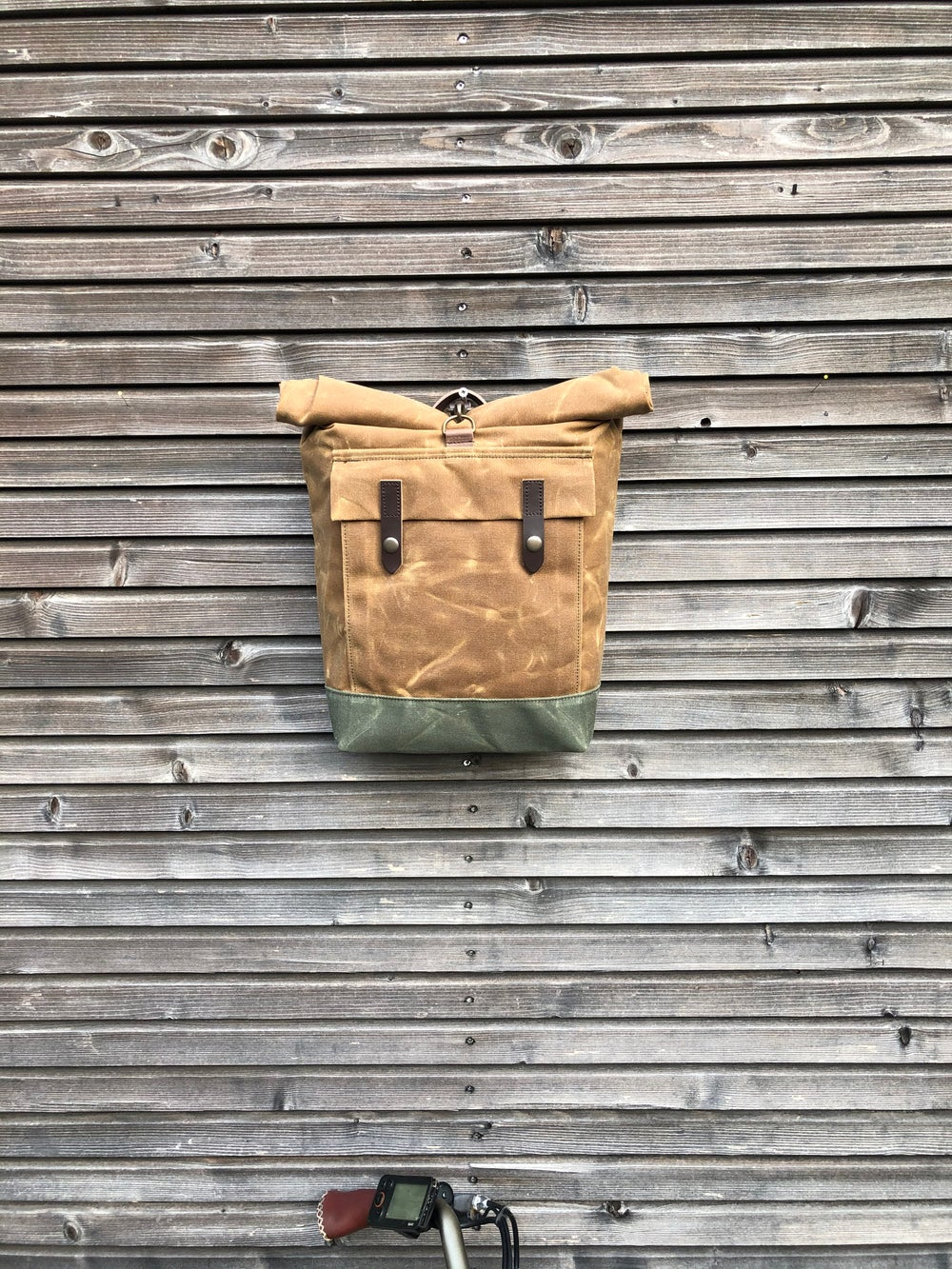 Image of Spice waxed canvas motorbike bag / Motorcycle bag / Bicycle bag in waxed canvas / Bike accessories