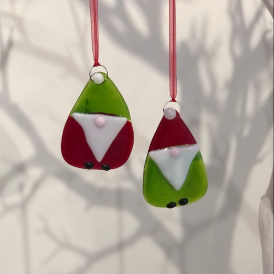 Image of Hand made fused glass gnome tree decorations
