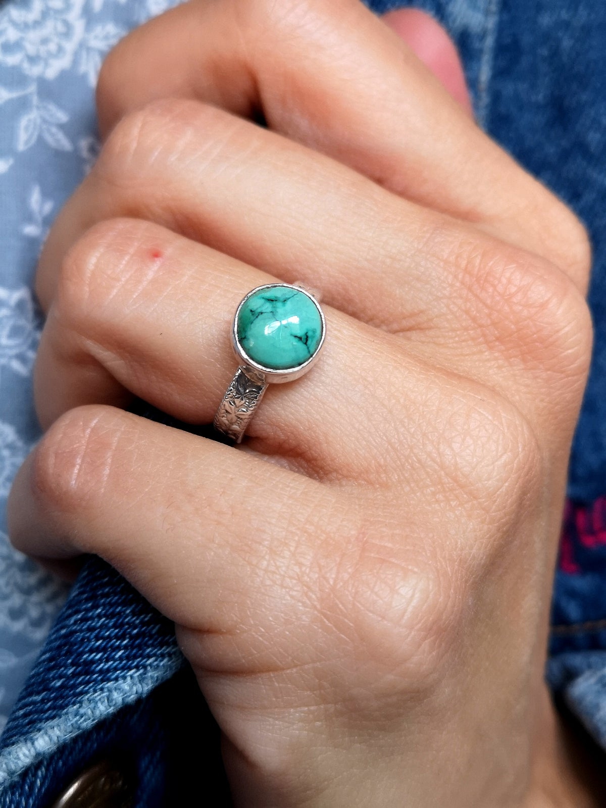 Image of Bague turquoise du tibet ref. 7086 - taille 53