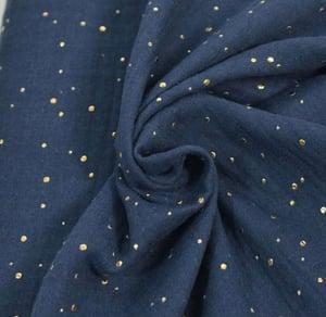 Image of Barrette & boomer double gaze bleue marine pois dorées