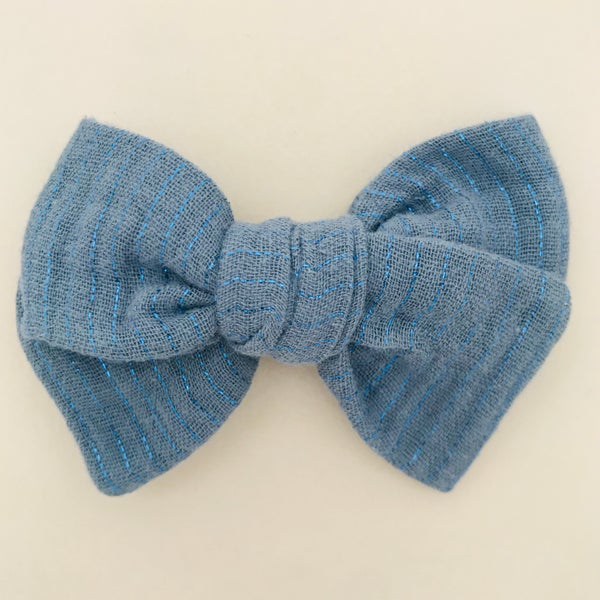 Image of Barrette double gaze bleue & lurex