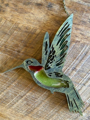 Image of Faux Stained Glass - Ruby Throated Hummingbird