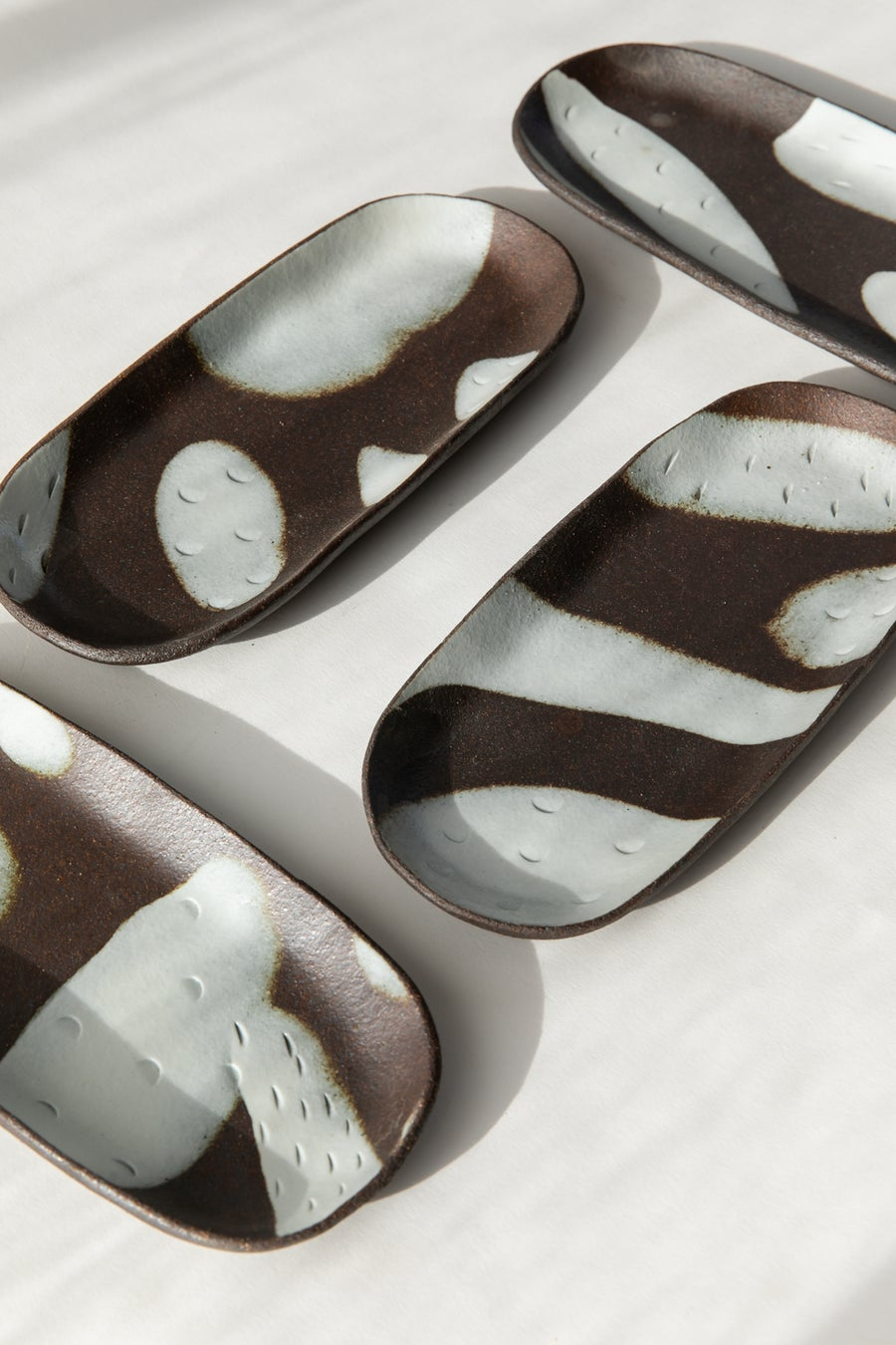 Image of Black and White Porcelain - Long Oval Catchall