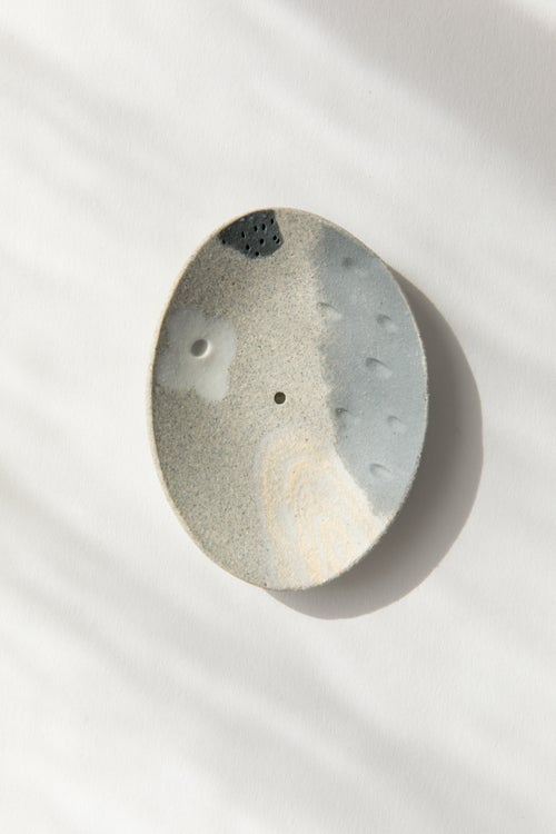 Image of Granite Slate with White Flowers - Incense holder