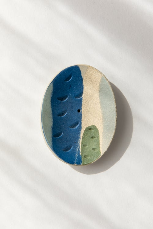 Image of Cobalt, green and peach - Incense Holder