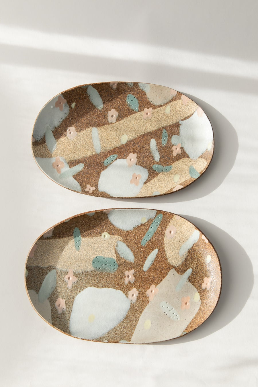 Image of Desert Sand, Peach Flowers and Sage Leaves  - Oval Porcelain Inlay Serving Platter