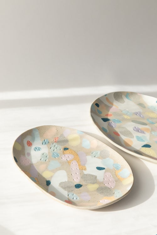 Image of Rainbow Camo - Oval Porcelain Inlay Serving Platter