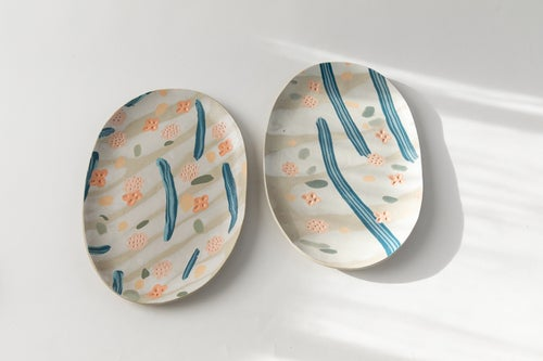 Image of Tropical Foral - Oval Porcelain Inlay Serving Platter