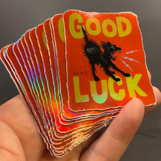 Image of GOOD LUCK- RED- FOIL HOLOGRAM STICKER