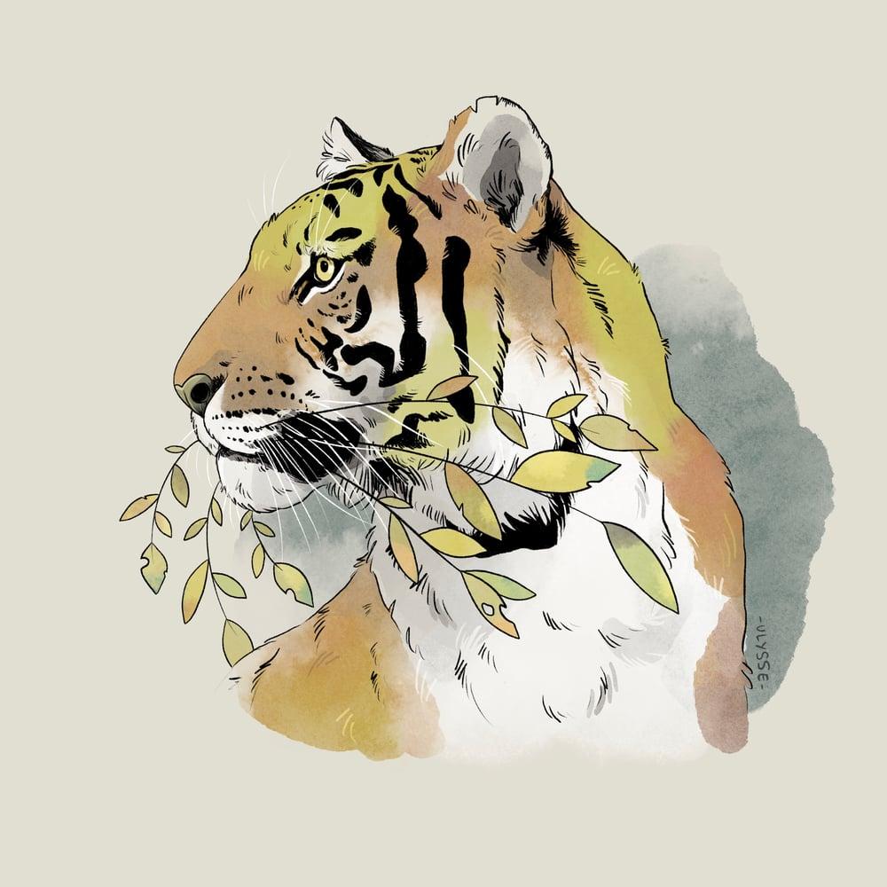 Image of Leafy tiger - Mini print