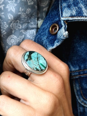 Image of Bague turquoise du tibet ref. 7085- taille 53
