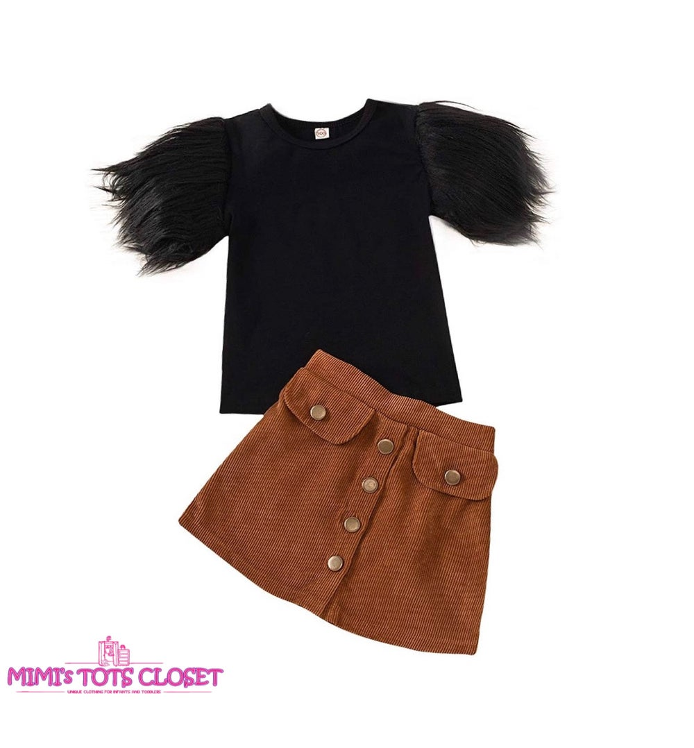 Image of Feather Top & Skirt Set