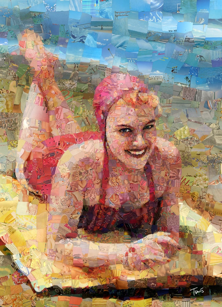 "Image of Endless Summer 3 ""Pink summer"" (Limited edition digital mosaic on canvas)"