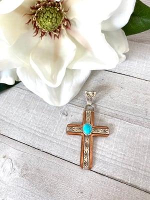 Copper & Silver Turquoise Cross  Pendant (Medium)