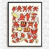 Screen Print - Keith Haring Tribute - Coral Red