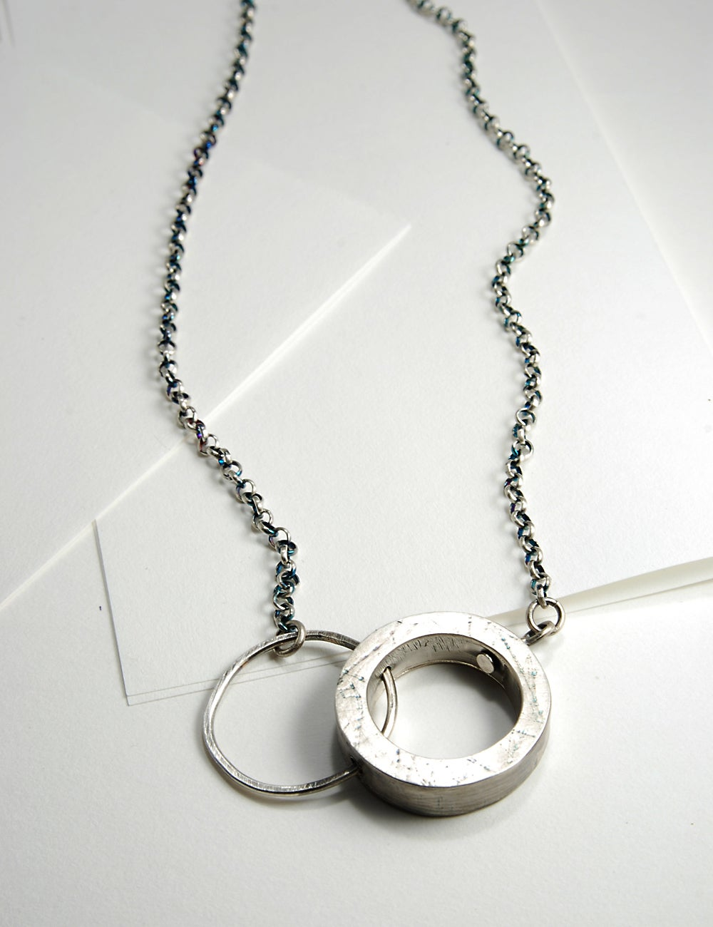 Image of Double Rings, Sterling Silver Hollow Form Necklace