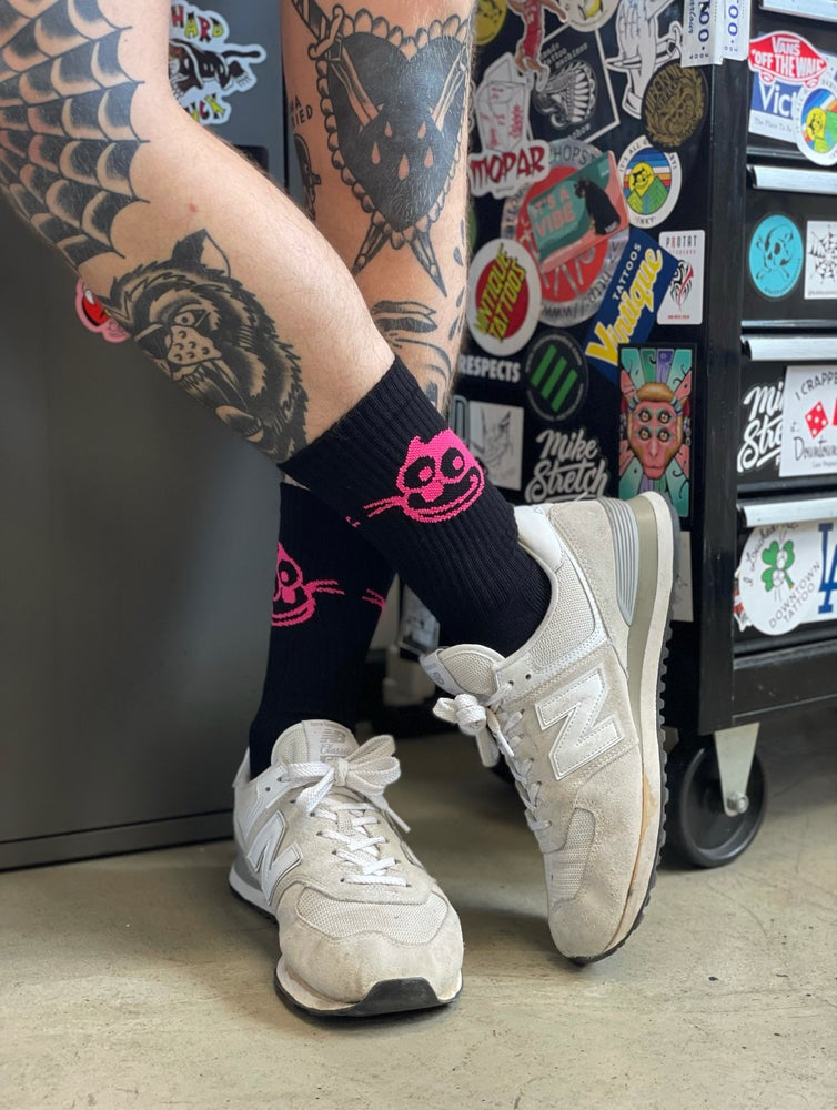 Image of Black Socks with Hot Pink Inky Cat Face