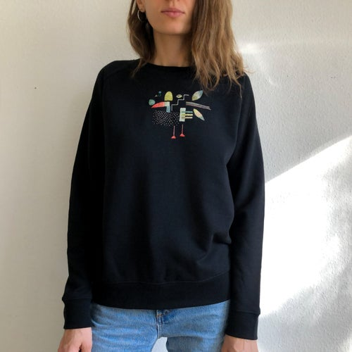 Image of A bird - original hand embroidery on organic cotton sweatshirt, one of a kind