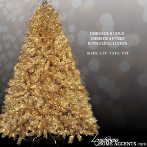 Image of Gold Christmas Tree With Clear Lights