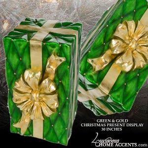 Image of Christmas Present Box Display Green and Gold