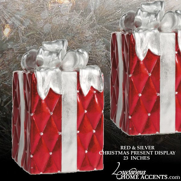 Image of Christmas Present Box Display Red and Silver