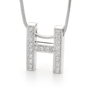 Image of Initial Pendant - In Sterling Silver with Cubic Zirconia's