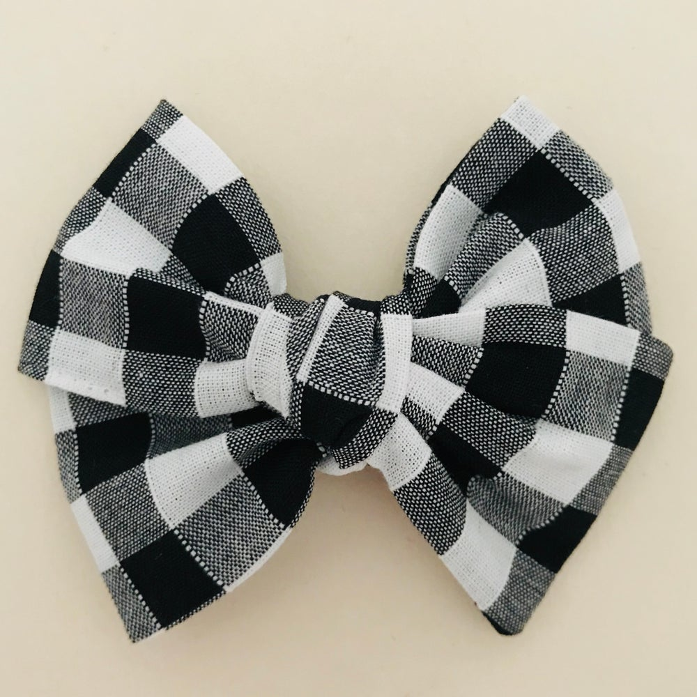 Image of Barrette, bloomer & petite jupe coton vichy noir & blanc