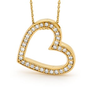 Image of Elegant Heart Pendant - In 9ct Yellow Gold with Diamonds