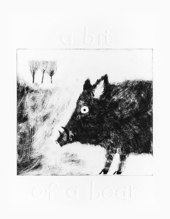 Image of A bit of a boar drypoint etching