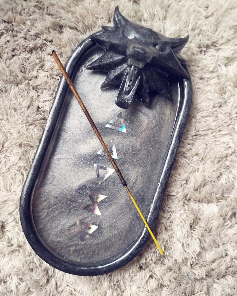Image of Handmade White Wolf Incense Tray PREORDER