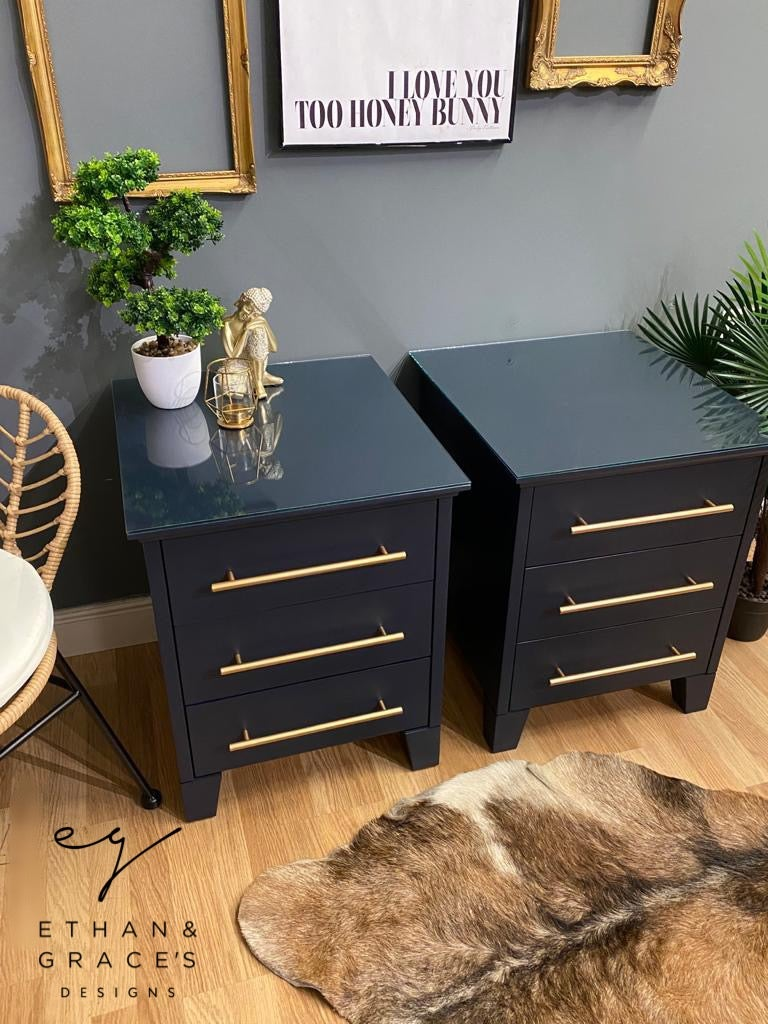 Image of Dark blue oversized bedside / side tables
