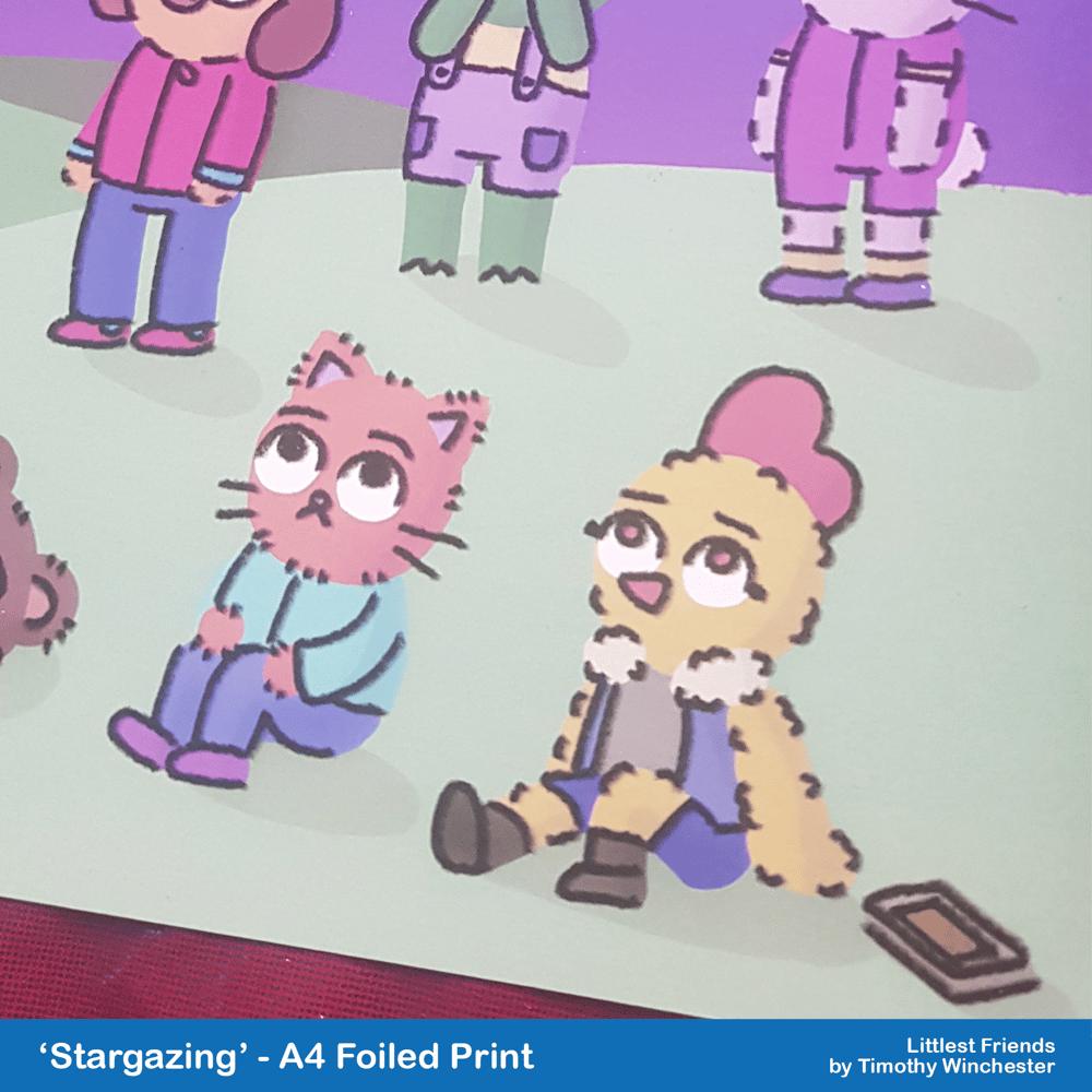 'Stargazing' - A4 foiled art print