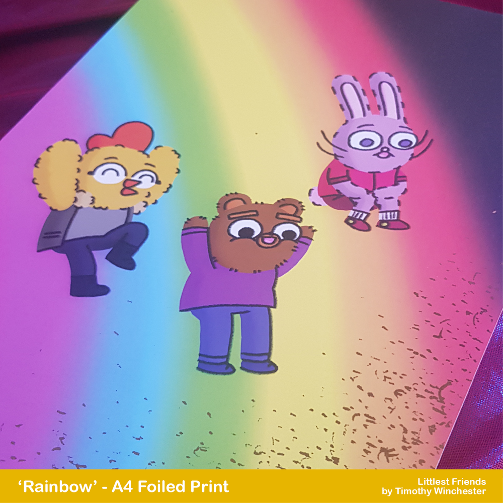 'Rainbow' - A4 foiled art print