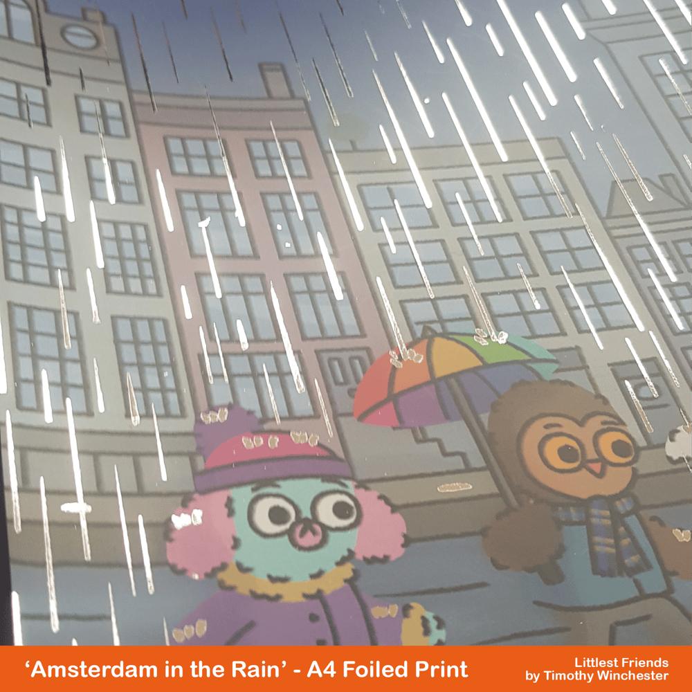 'Amsterdam in the Rain' - A4 foiled art print