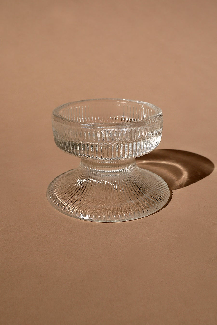 Image of Vintage Ribbed Glass Pedestal Candle Holder