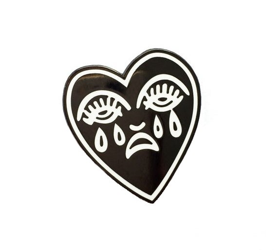Image of Crying Heart enamel pin badge