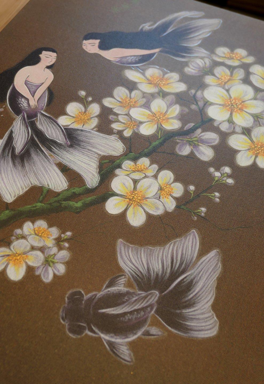 Mermaids and Plum Blossoms Original Canvas Print