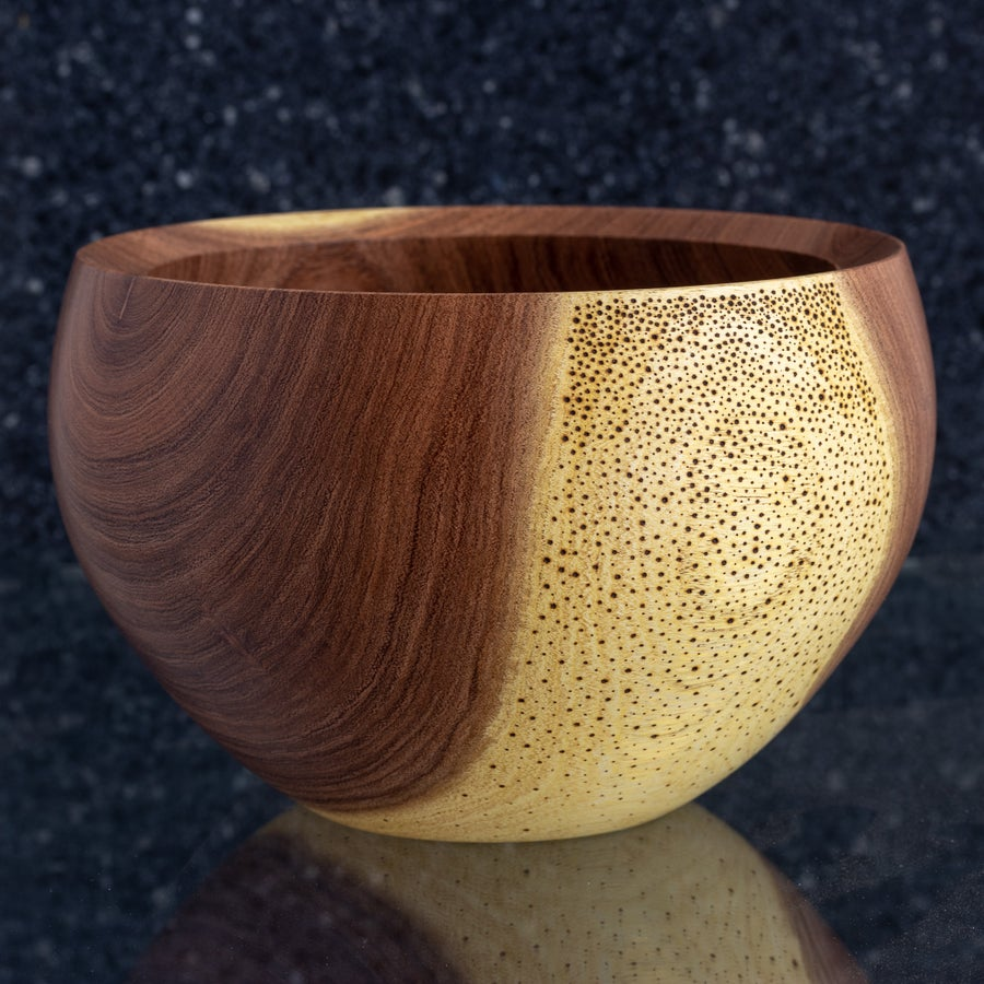 "Image of Handmade Mesquite Calabash Style ""Galaxy"" Bowl"