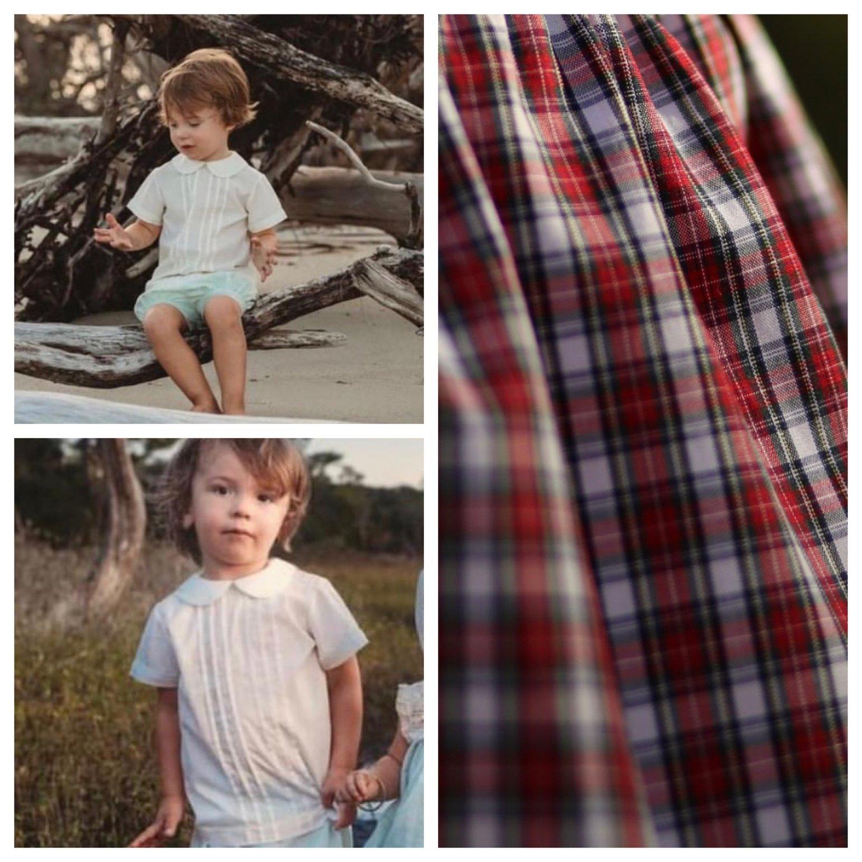 Image of Boy's Holiday Peter Pan Collar Shirt & Short Set