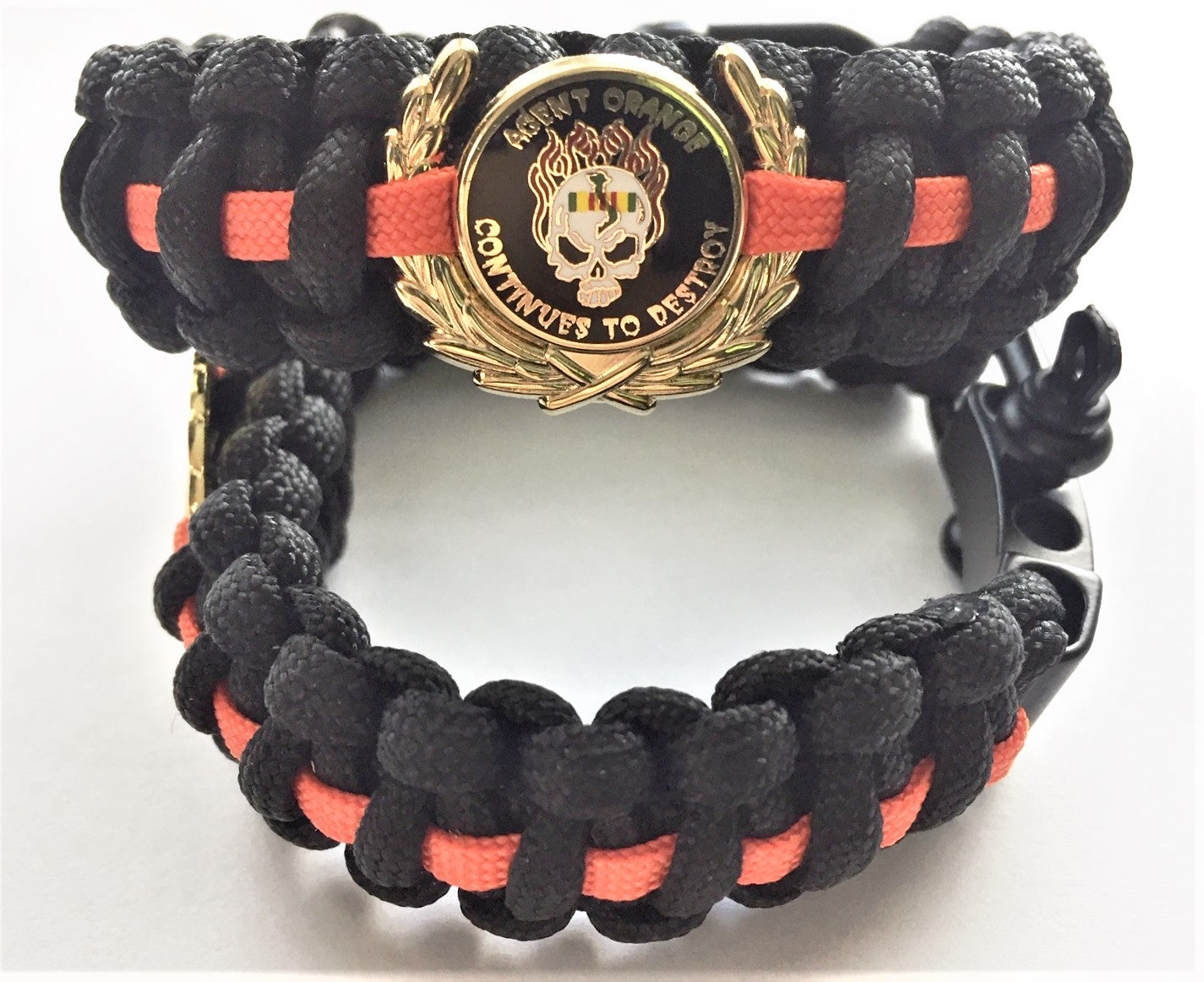 Image of Vietnam Veteran Agent Orange Para cord Bracelet with Continues To Destroy  Pin