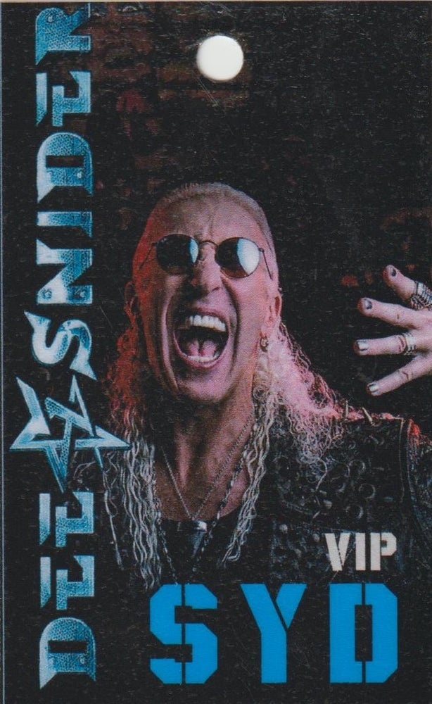Image of DEE SNIDER - Spoken & Shouted Aussie Tour - Blue Sydney VIP Laminate ONLY 1 IN STOCK