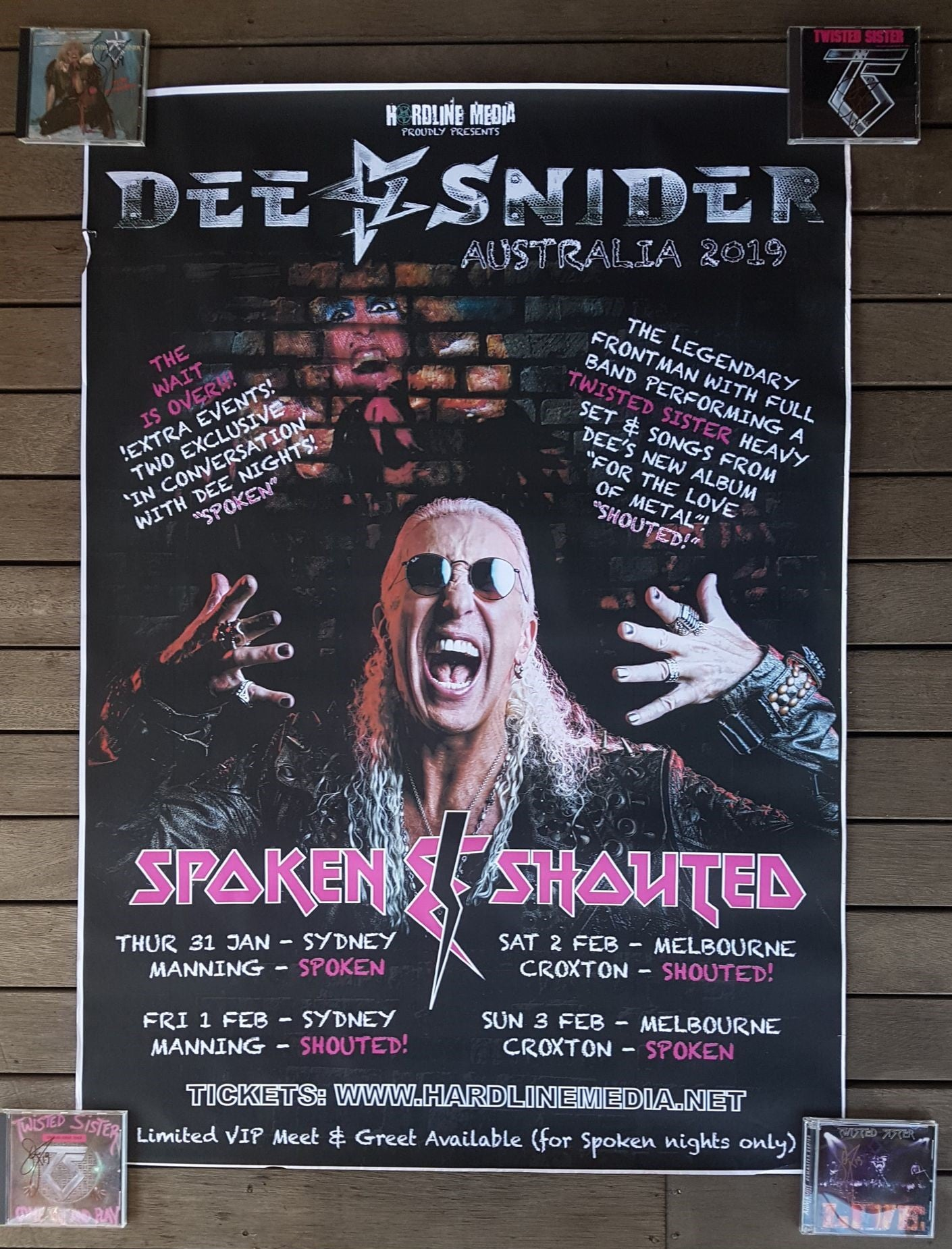 Image of DEE SNIDER - Spoken & Shouted - Aussie Tour Poster - GIANT Size A0 HUGE