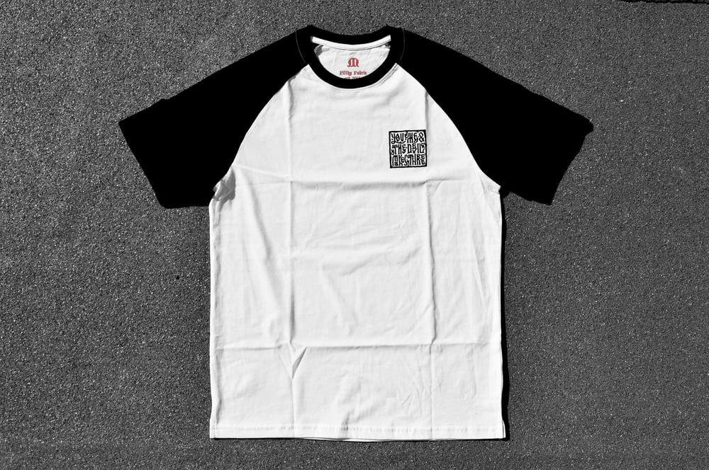 "Image of ""You, Me & The Devil Makes Three"" White Raglan T-Shirt"