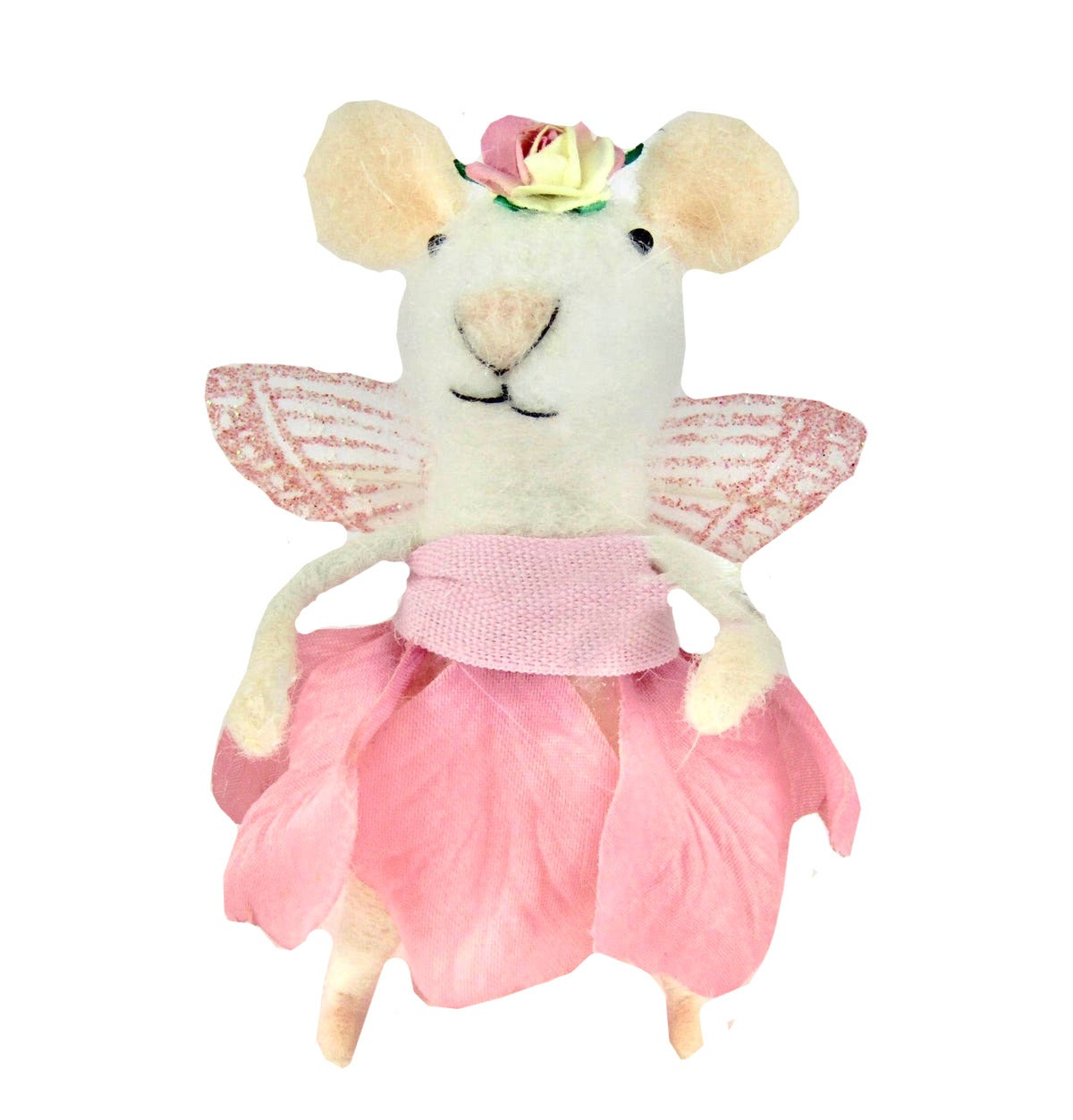 Image of Vintage Angel Rose Fairy Wool Mix Felt Mouse