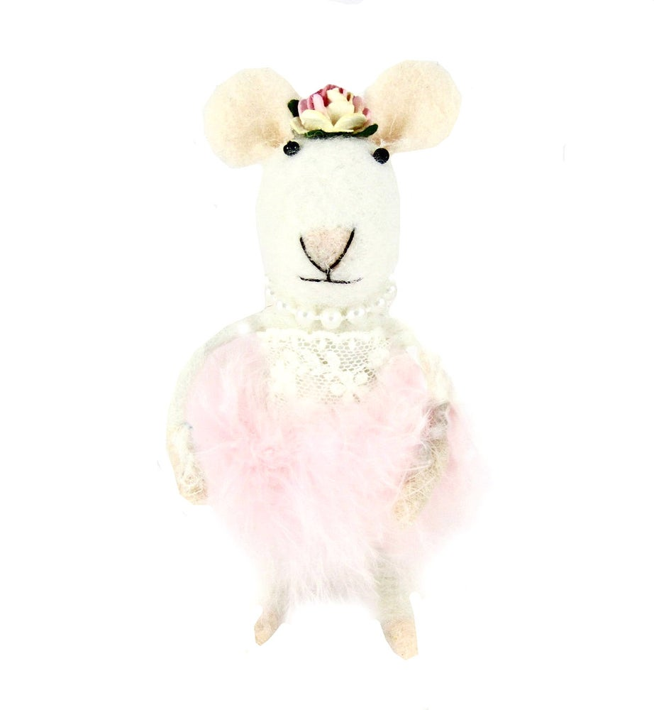 Image of Vintage Angel Pink Powder Puff Wool Mix  Felt  Mouse