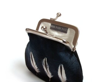 Image of Oystercatcher feathers, velvet kisslock coin purse