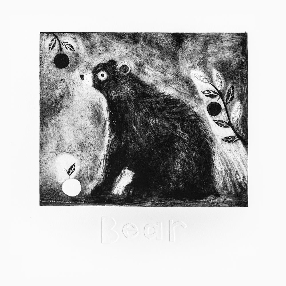 Image of Bear drypoint emboss etching